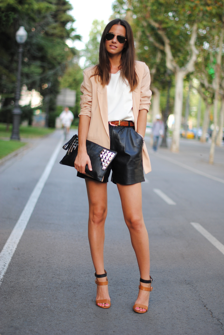 white-t-shirt & leather shorts