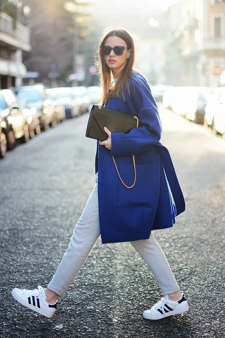 zina charkoplia, milan, fashion week, blue coat, adidas, sneakers, saint laurent bag