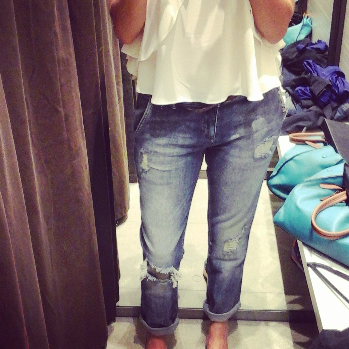 Me, trying on boyfriend jeans at Zara, CanalWalk