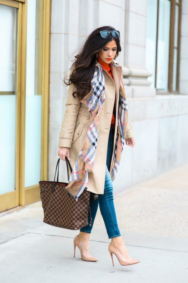 Trench Coat with Printed scarf