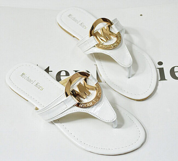 White Michael Kors Slippers